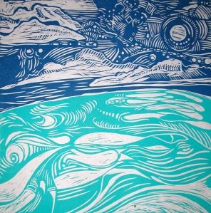 'Moon, Waves & Love' Linocut on ricepaper, series of 3 : $120.00 unframed, $220.00 framed in recycled hardwood